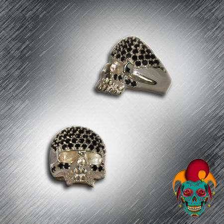 Black Dot Silver Skull Ring