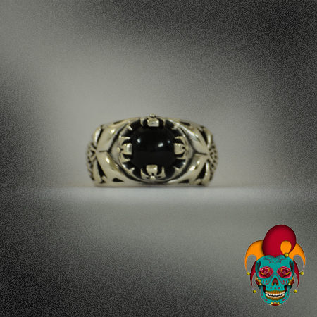 Black Sphere Silver Ring