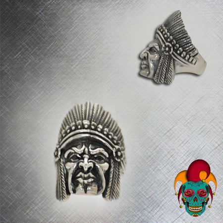 Carved Skull Silver Ring