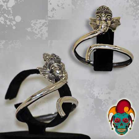 Silver Thai Elephant Bangle