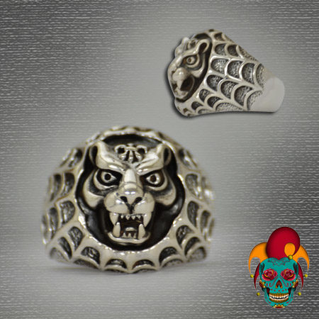 Leopard in Web Silver Ring