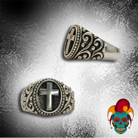 Black and Silver Cross Ring