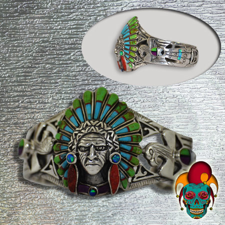 Indian Chief Silver Bangle