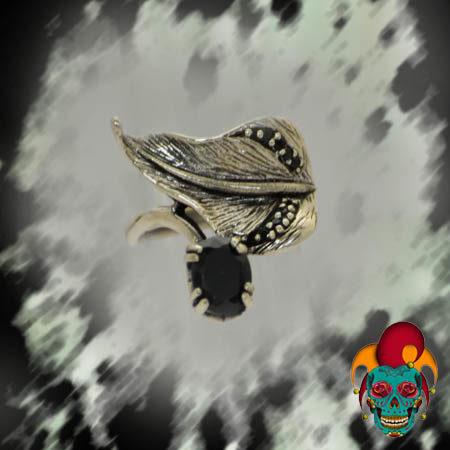 Black Leaflet Silver Ring