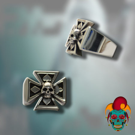 Skull Centered Silver Cross Ring