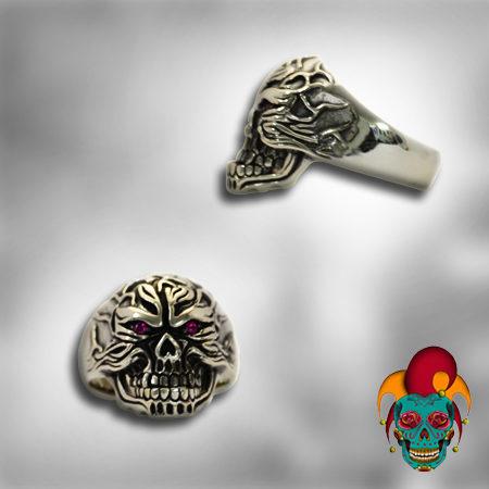 Furious Skull Silver Ring