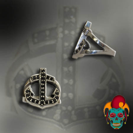 Dotted Anchor Silver Ring