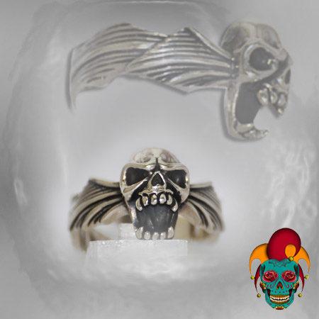 Skull Bat Silver Ring