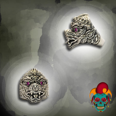 Purple Eyed Monster Silver Ring