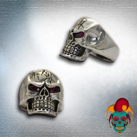 Cracked Skull Silver Ring