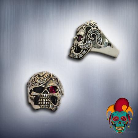 Moody Silver Skull Ring