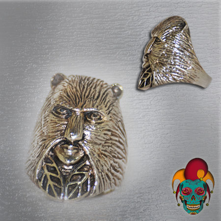 Bear Mask Silver Ring