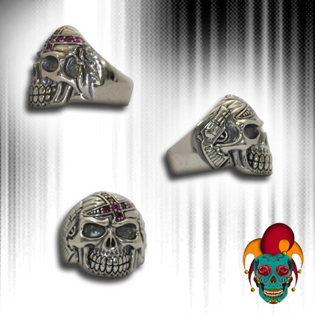 Glam Pirate Silver Skull Ring