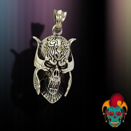 Scary Skull Silver Pendant