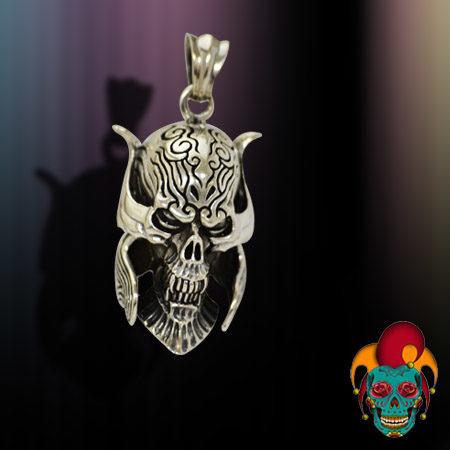 Scary Skull Silver Pendant