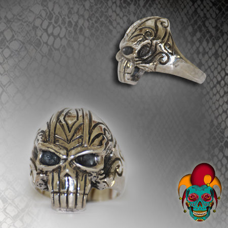 Blue Eyed Silver Skull Ring