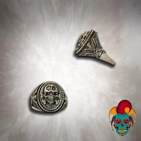 Number 7 Silver Skull Ring