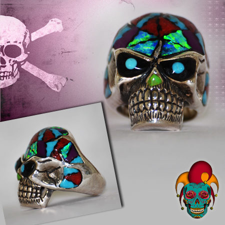Turquoise Eyed Silver Skull Ring