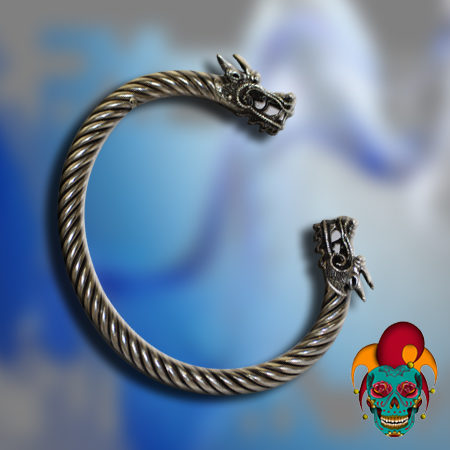 Dragon Head Silver Bangle