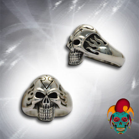Angry Silver Skull Ring
