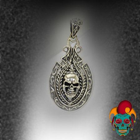 Oval Sphere Skull Silver Pendant