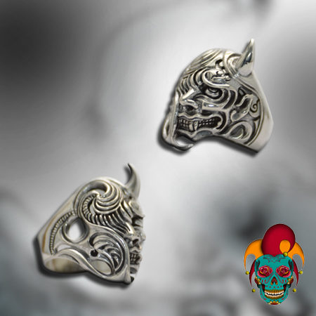 Half Monster Face Silver Ring