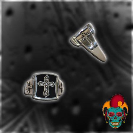 Black Cross Silver Ring