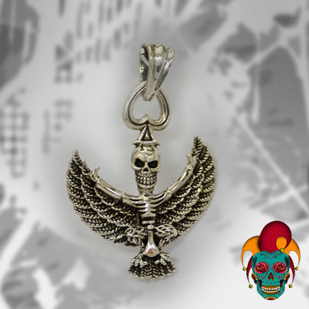 Skull with Wings Silver Pendant