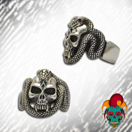Snake Surrounded Silver Skull Ring