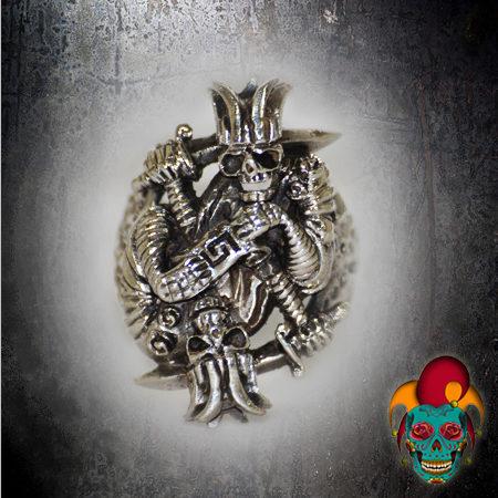 Gangster Skull Silver Ring