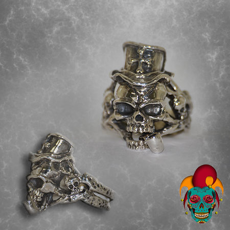 Blue Eyed Pirate Skull Silver Ring