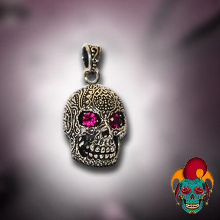 Purple Eyed Silver Skull Pendant