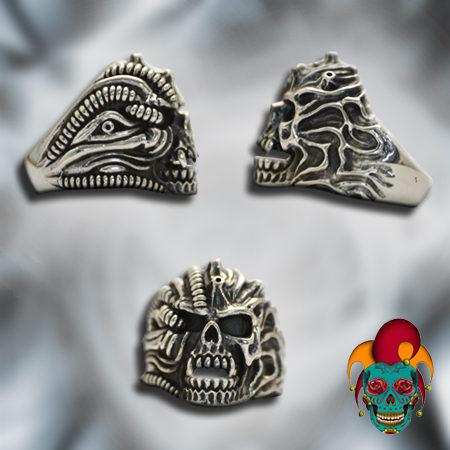 Artistic Silver Skull Ring