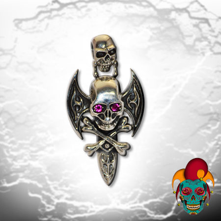 Skull Centered Silver Sword Pendant