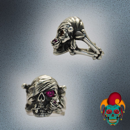Half Skull Half Pirate Silver Ring