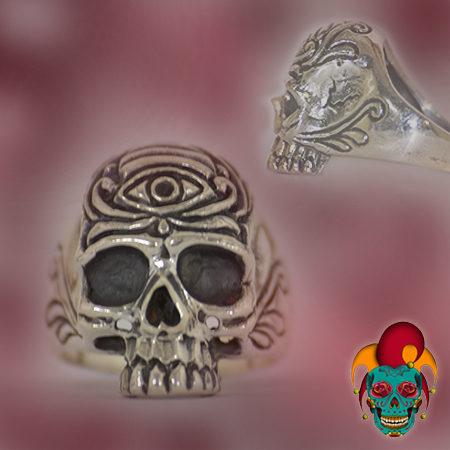 Eye of Rae Silver Skull Ring
