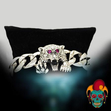 Roaring Leopard Silver Bracelet