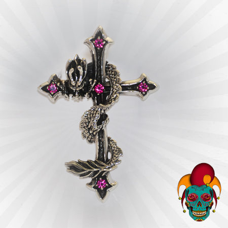Purple Cross Silver Pendant