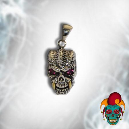 Evil Purple Eyed Silver Skull Pendant