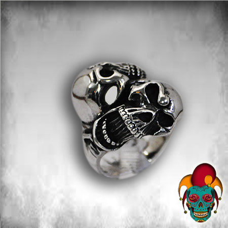 Double Faced Silver Skull Ring