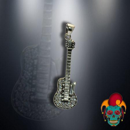 Sparkling Guitar Silver Pendant