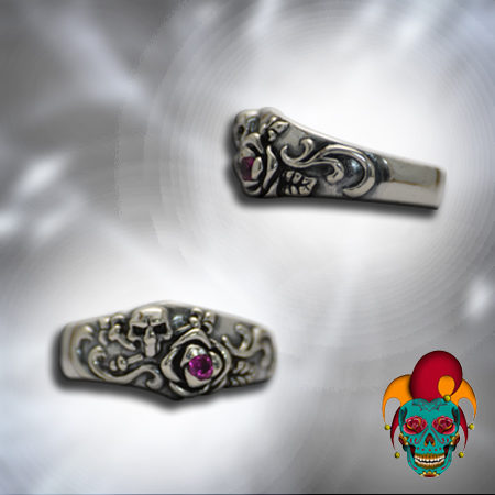 Purple Stone Silver Skull Ring