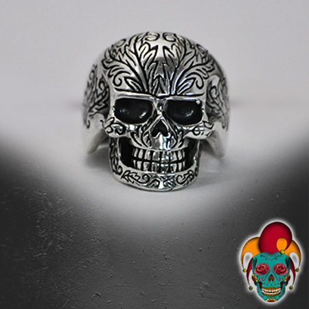 Patterned Skull Silver Ring