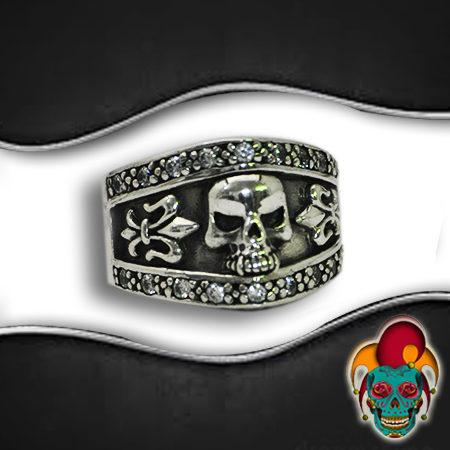 Bordered Skull Silver Ring