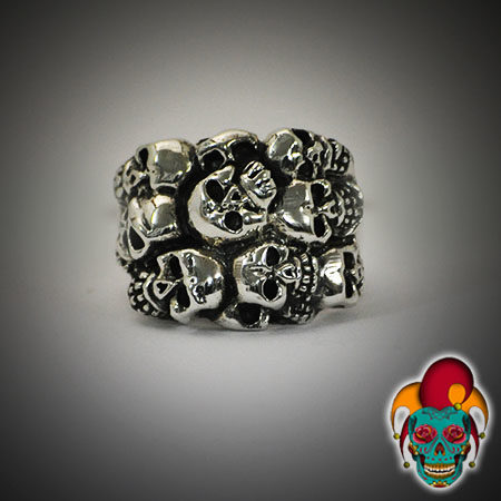 Multiple Skulls Silver Ring