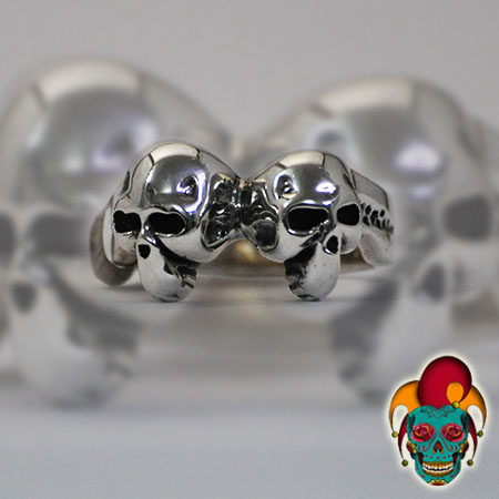 Two Skulls Silver Ring