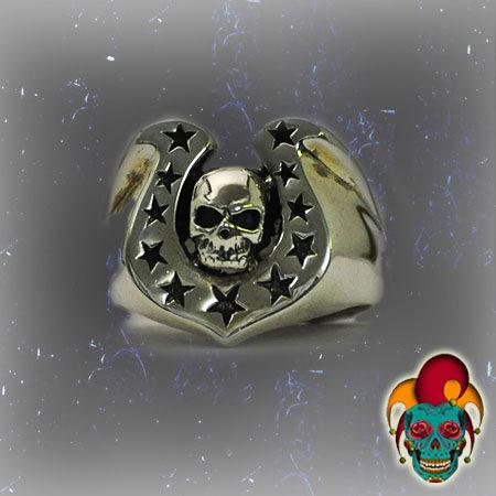 Skull Pedal Silver Ring