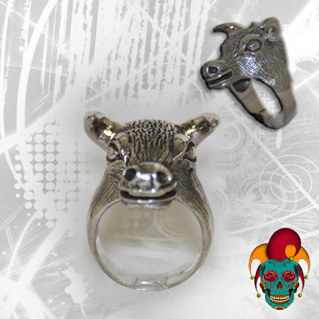 Deer Face Silver Ring