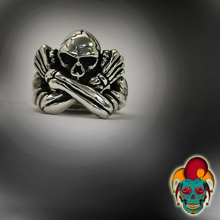 Self Hugging Skull Silver Ring