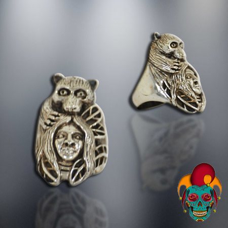Indian Chief and Bear Silver Ring